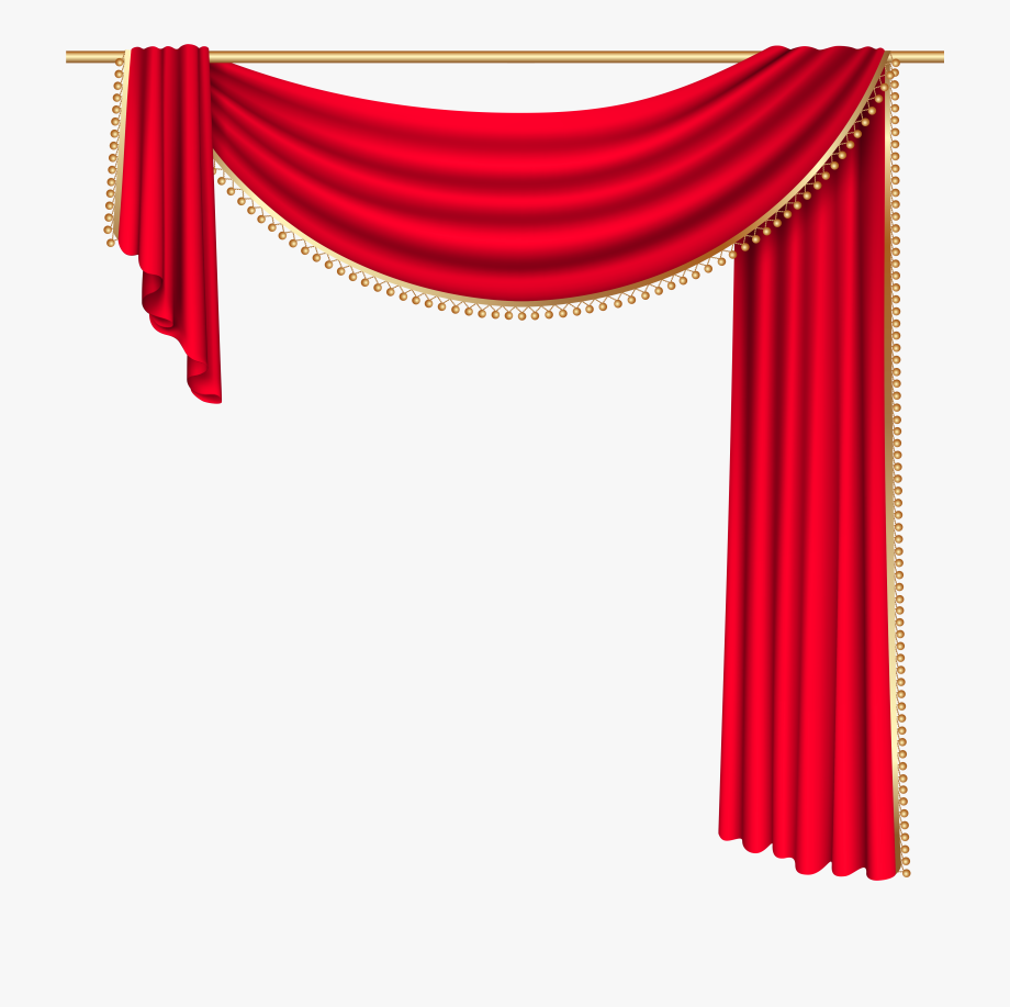 Curtains transparent red png. Curtain clipart cream