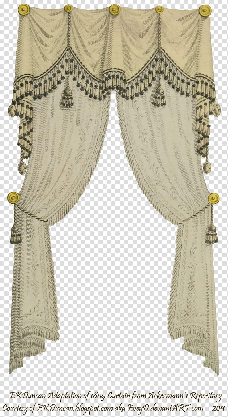 Fringe and tassel beige. Curtain clipart cream