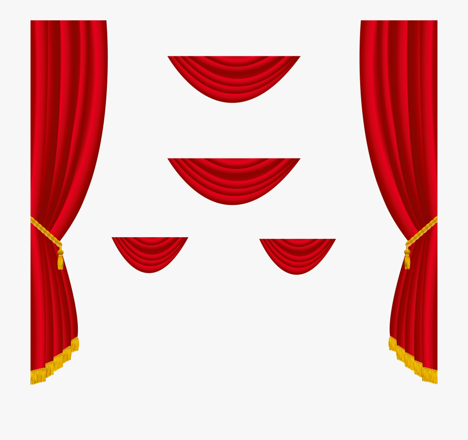 Transparent red png . Curtains clipart stage decoration