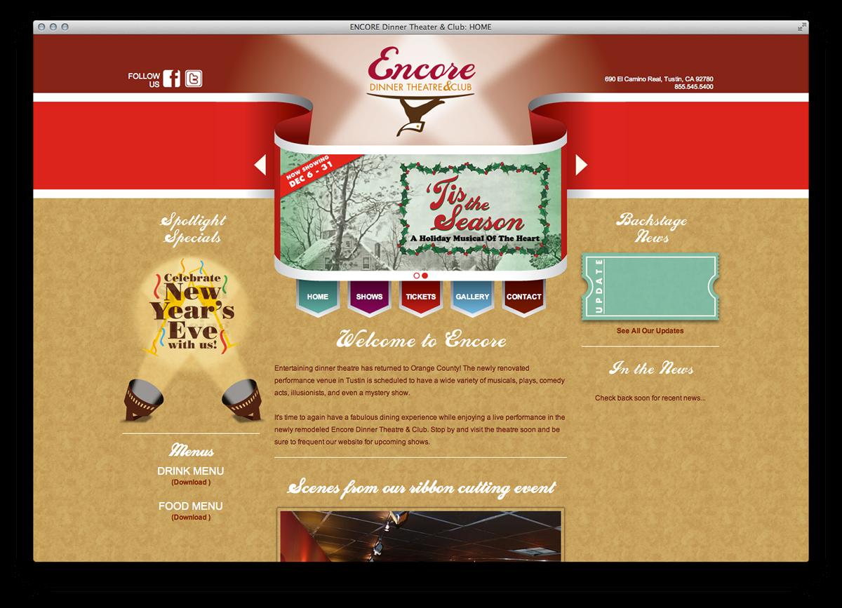 Encore branding website on. Curtains clipart dinner theatre