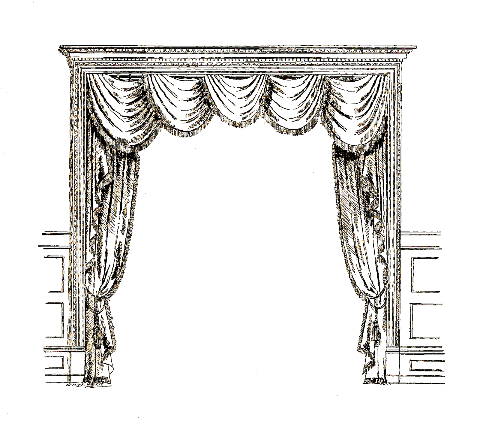 Open with transparent png. Curtains clipart door