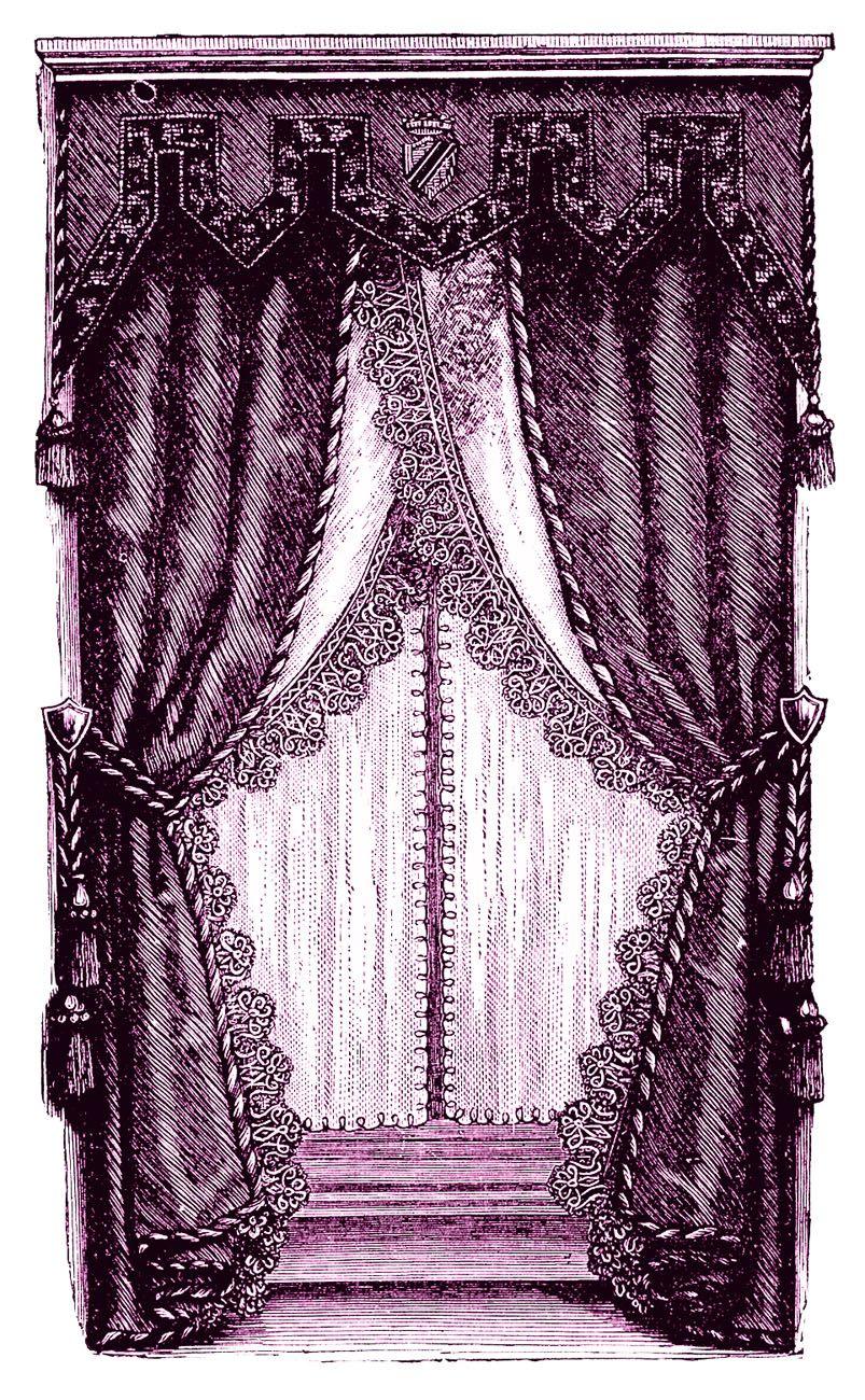 Curtains clipart drapery. Vintage clip art fancy