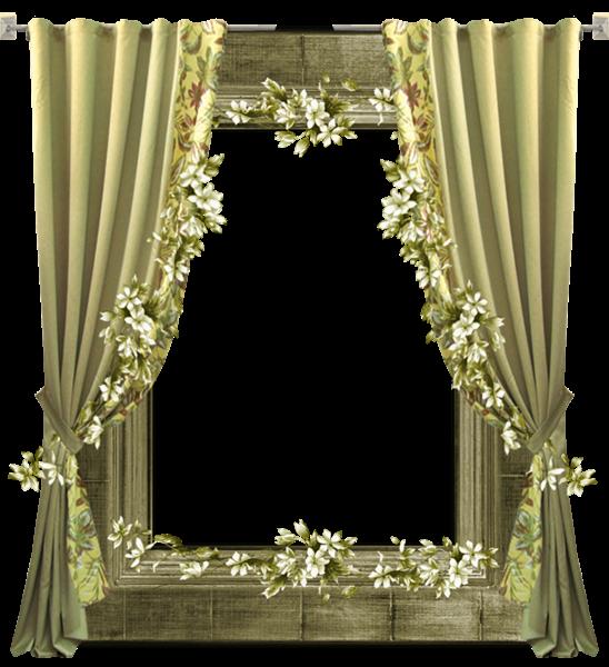 Green transparent png frame. Curtain clipart elegant