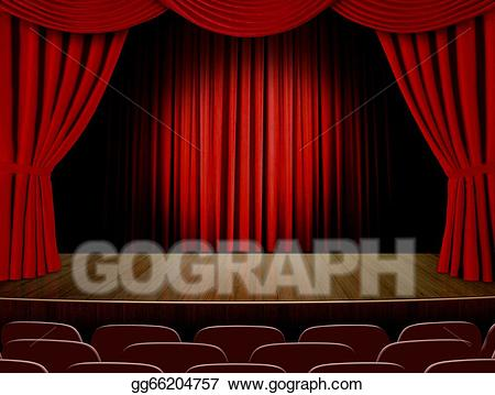 Drawing with red curtain. Curtains clipart empty stage