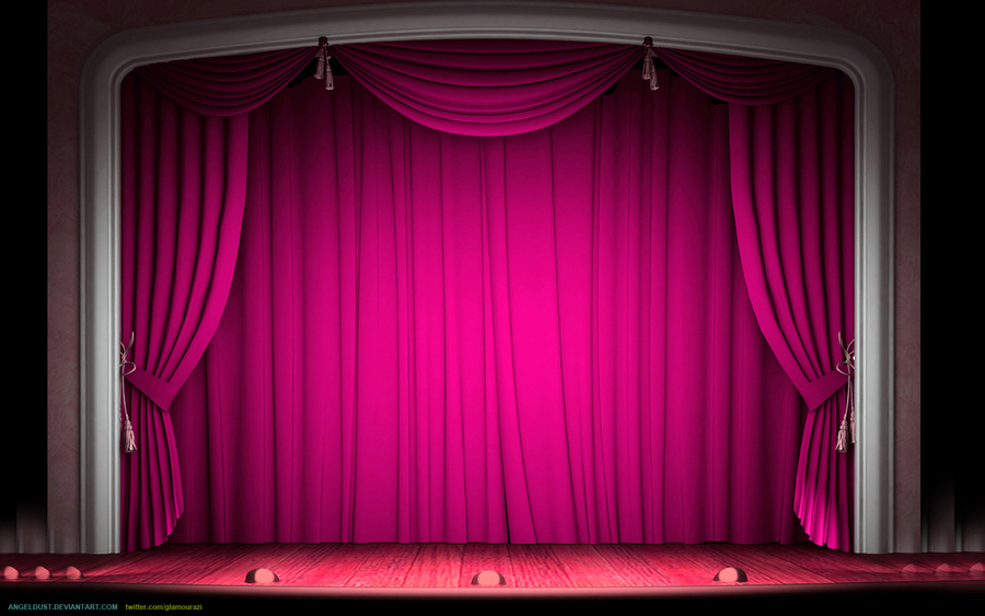 Theatre curtain light red. Curtains clipart empty stage