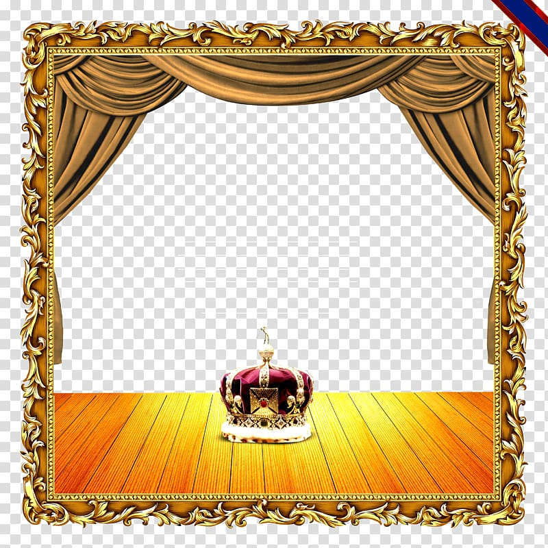 Colored crown illustration curtain. Curtains clipart gold light