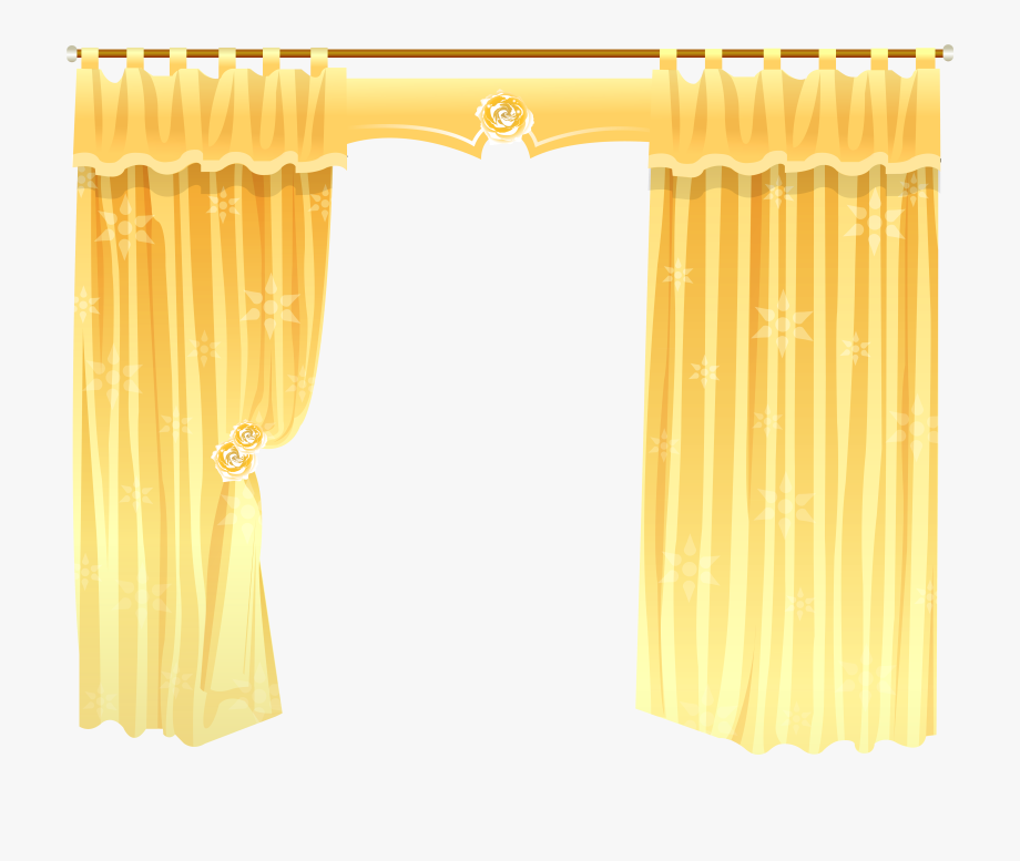 Curtains clipart gold light. Curtain yellow