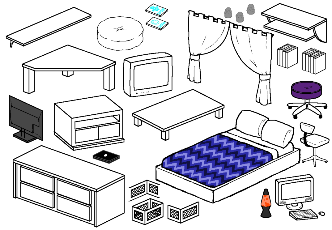 Curtains clipart homestuck. Furniture compliation by blizzriel