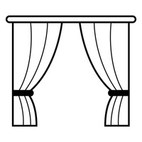 Curtains clipart black and white. Window with free download