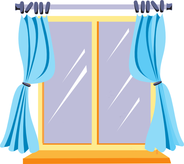 Win clipart window scene. With curtains panda free