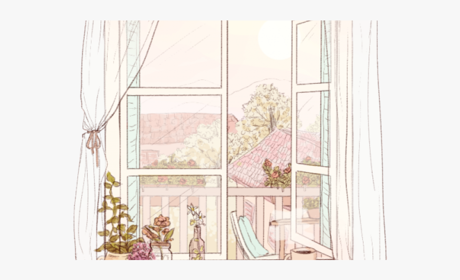Curtains clipart morning window. Curtain open drawing