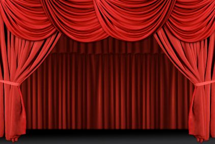 Show theatre stage curtains. Curtain clipart puppet theater