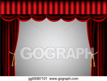 Curtain clipart screen. Eps vector red and