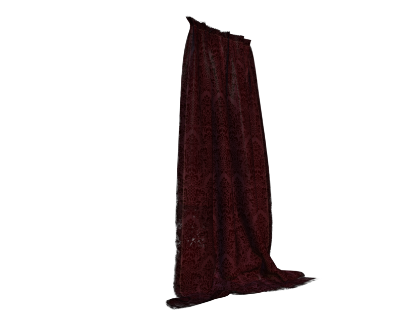 Deep red cut out. Curtains clipart side