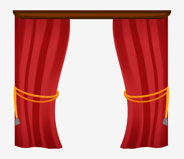 On the left of. Curtains clipart side