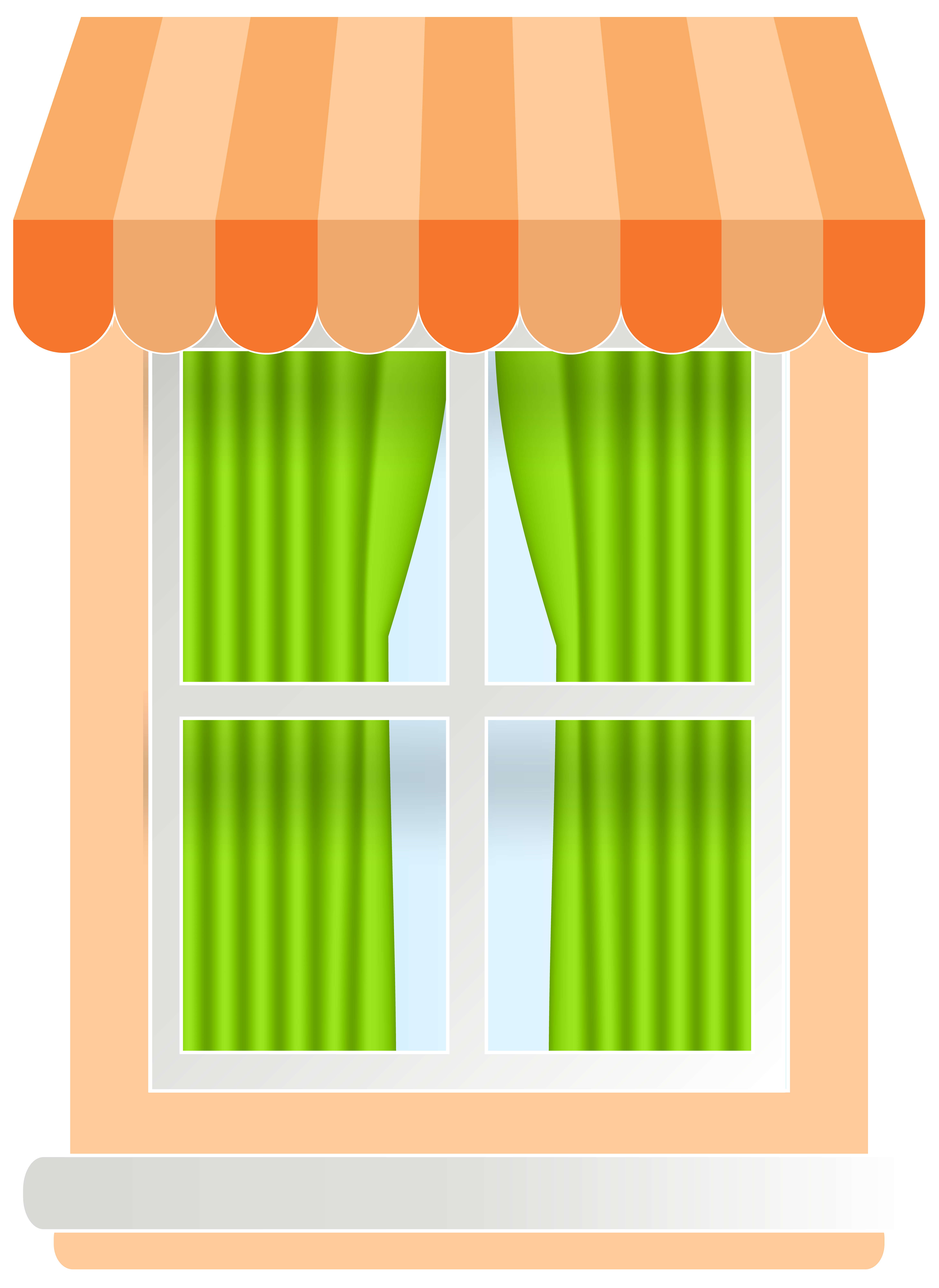 Curtains clipart small window. Orange png clip art