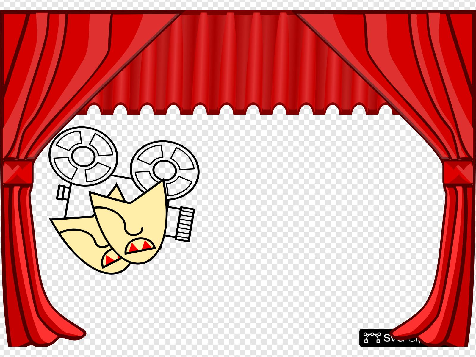 Red clip art icon. Curtains clipart svg