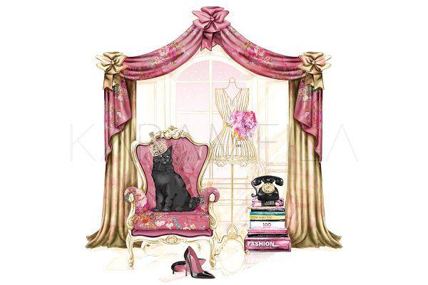 Boudoir clip art fashion. Curtain clipart vintage pink