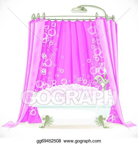 Curtain clipart vintage pink. Vector claw foot bathtub