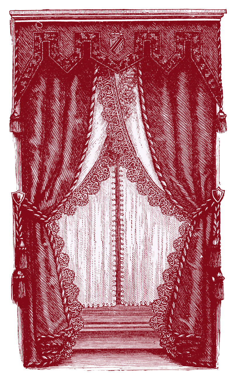 Clip art fancy victorian. Curtain clipart vintage pink
