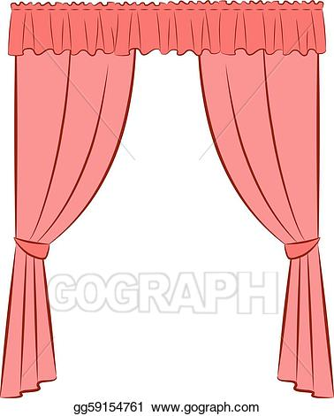 Curtain clipart vintage pink. Eps vector the stock