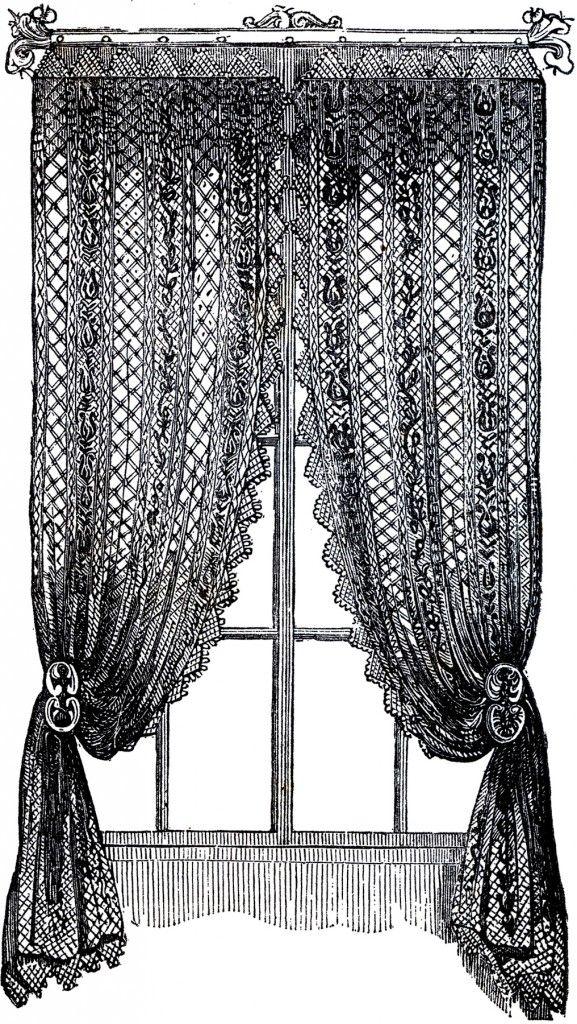 Curtains clipart fancy. Vintage lace clip art
