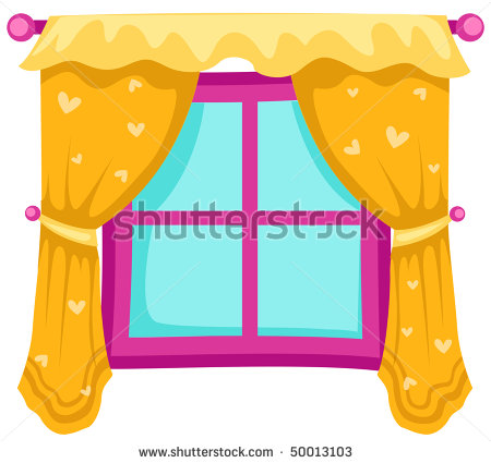 With curtains panda free. Win clipart bedroom window