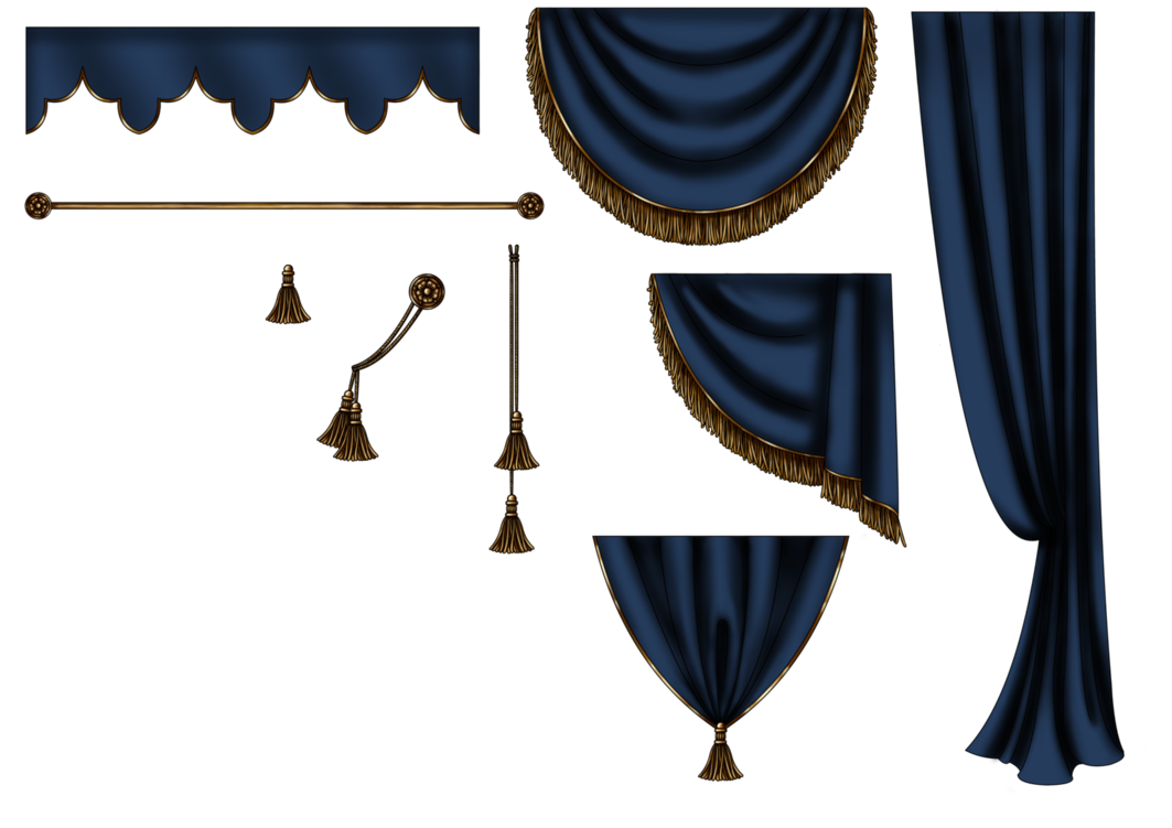 png. Curtains clipart window sill