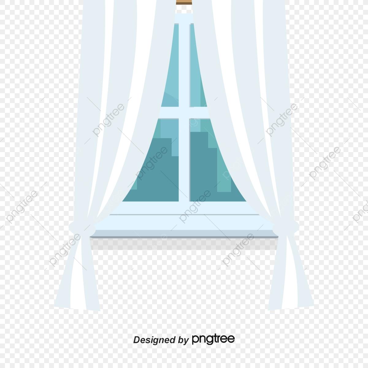 Curtain frame windowsill fabric. Curtains clipart window sill