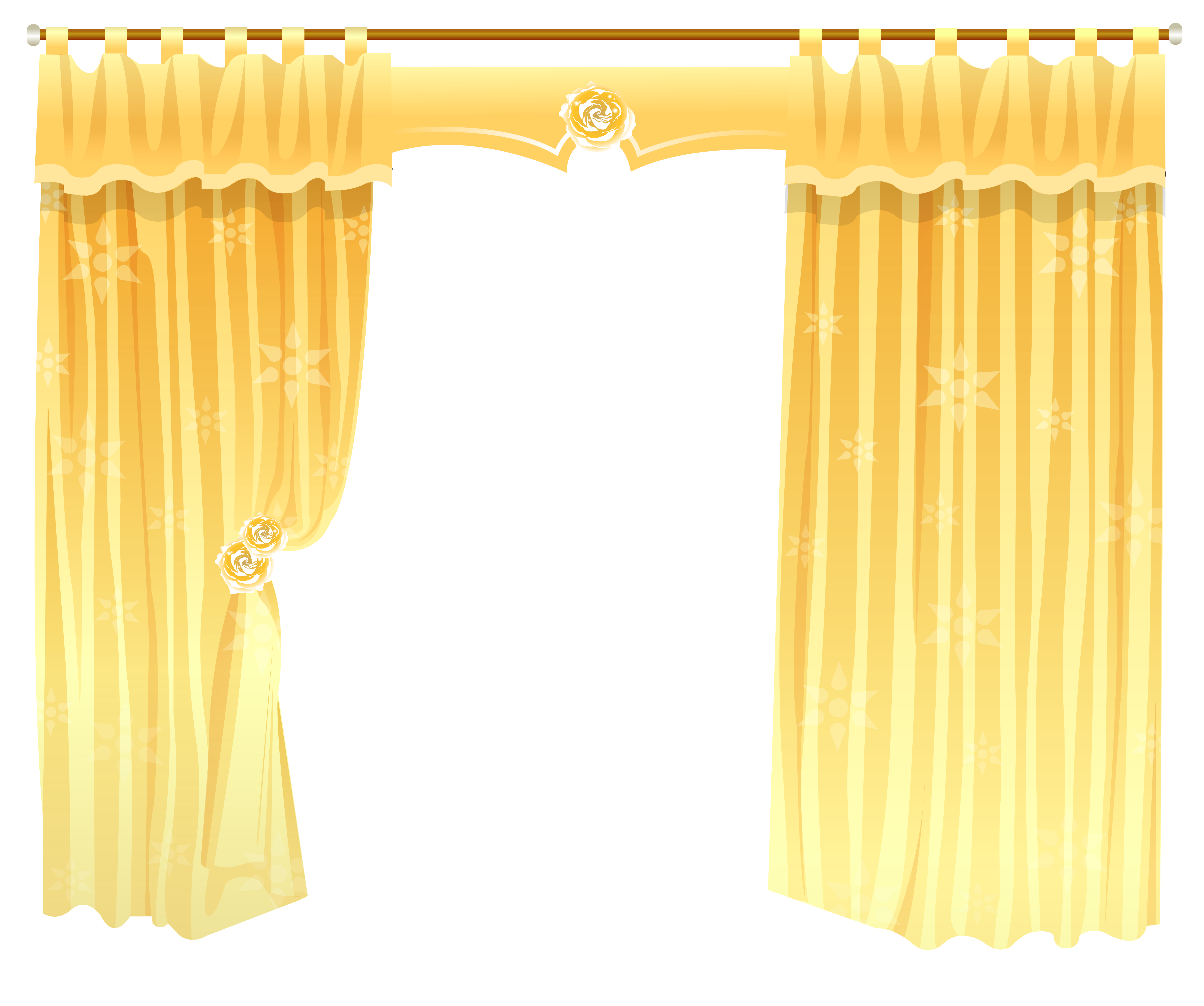 Curtains clipart yellow curtain. Window treatment rod shower