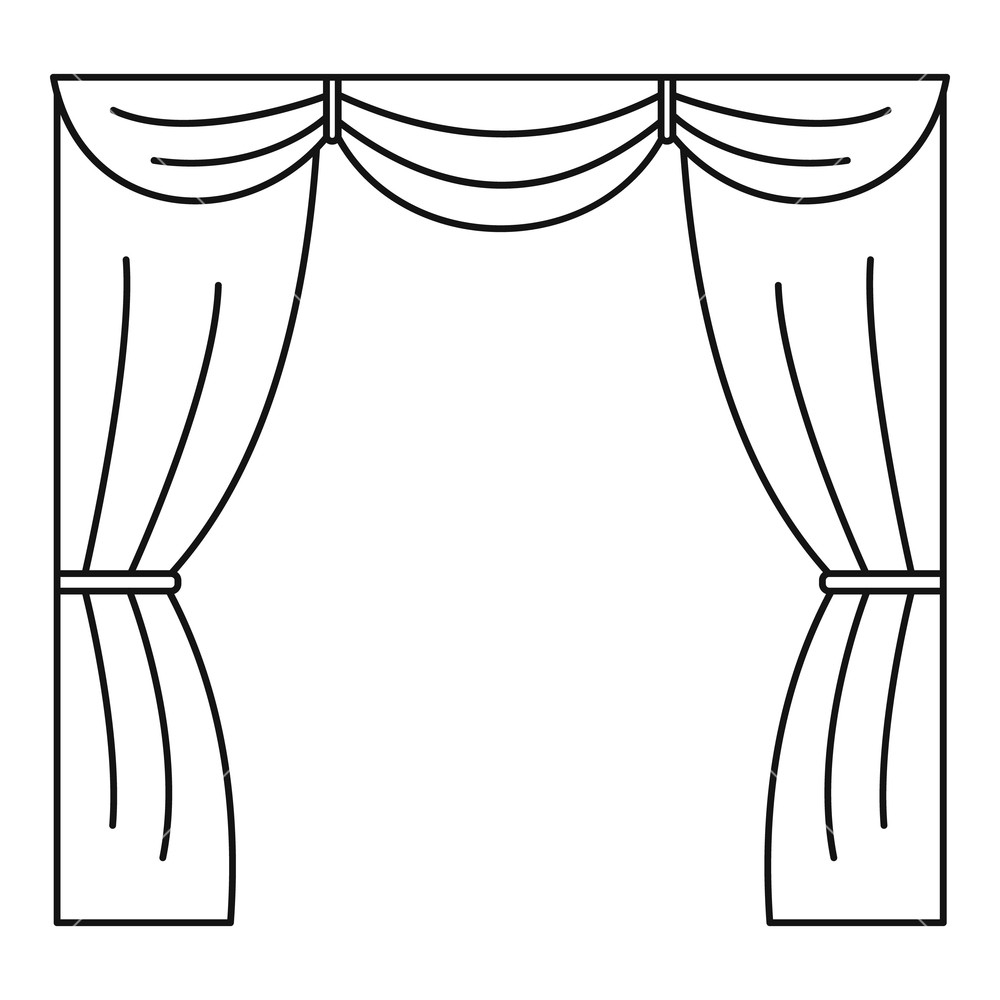 Stage drawing free download. Curtains clipart black and white