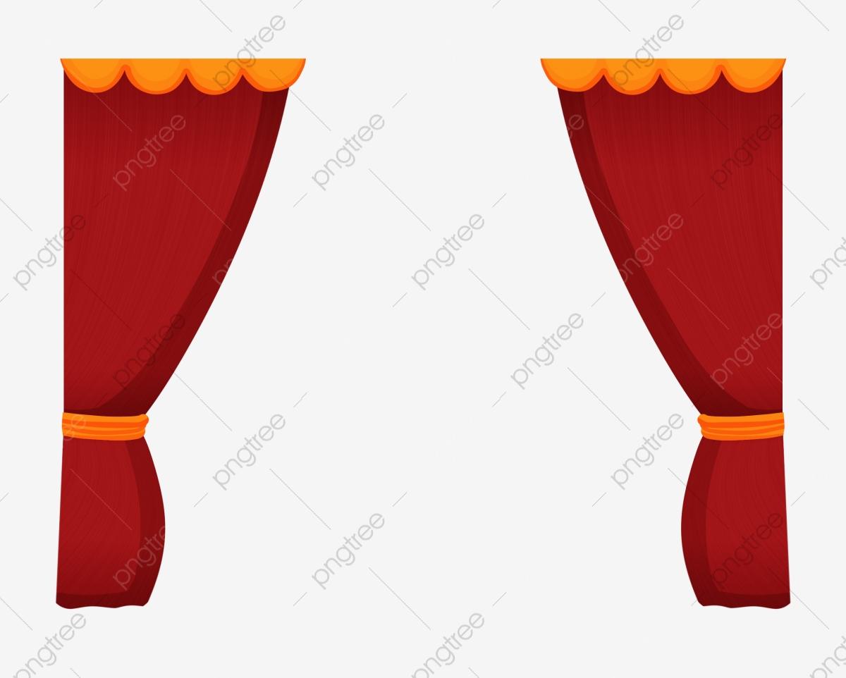 Hand painted curtain cartoon. Curtains clipart cloth