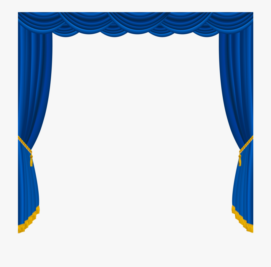 Curtain studio blue stage. Curtains clipart drapery