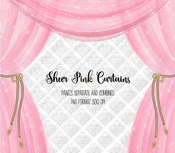 Curtains clipart pink curtain. Sheer overlays by digital