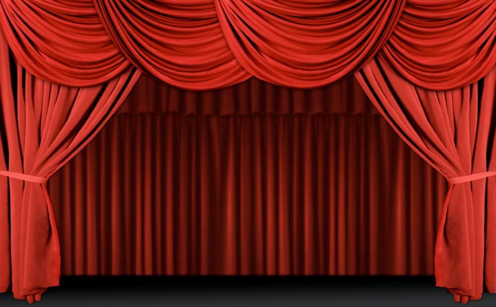 Children s stage for. Curtains clipart puppet theater