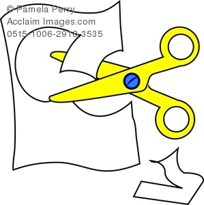 Scissors cutting paper panda. Cut clipart