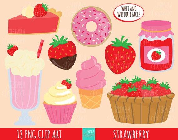 Cute clipart dessert.  sale strawberry kawaii