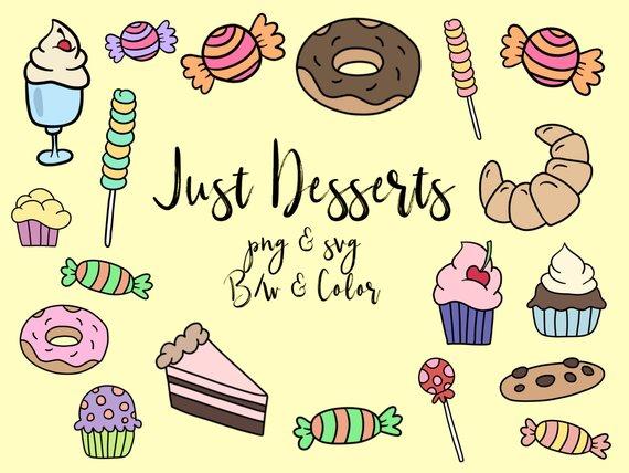 Dessert clipart cute. Clip art doodles vector