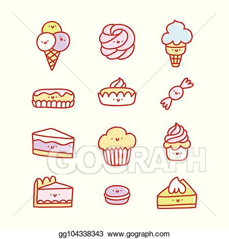 Eps vector super desserts. Cute clipart dessert