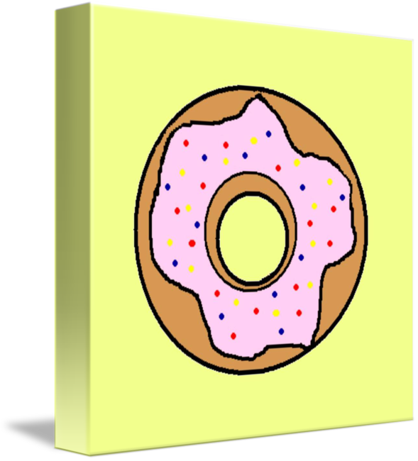 Donuts clipart circle. Pink donut with yellow