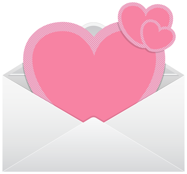 Envelope with pink transparent. Hearts clipart water