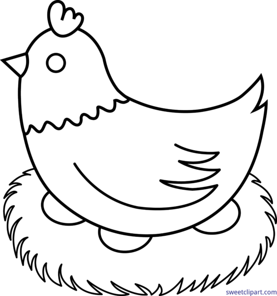 Hen sweet clip art. Nest clipart black and white