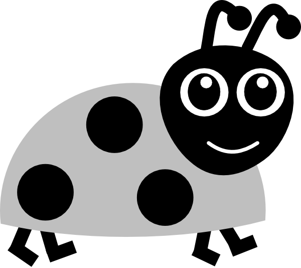 Grey clip art at. Ladybug clipart black and white
