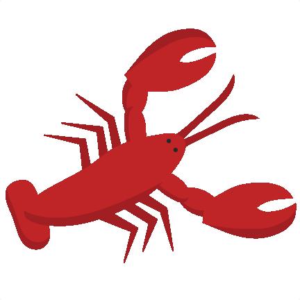 Svg scrapbook cut file. Lobster clipart cute