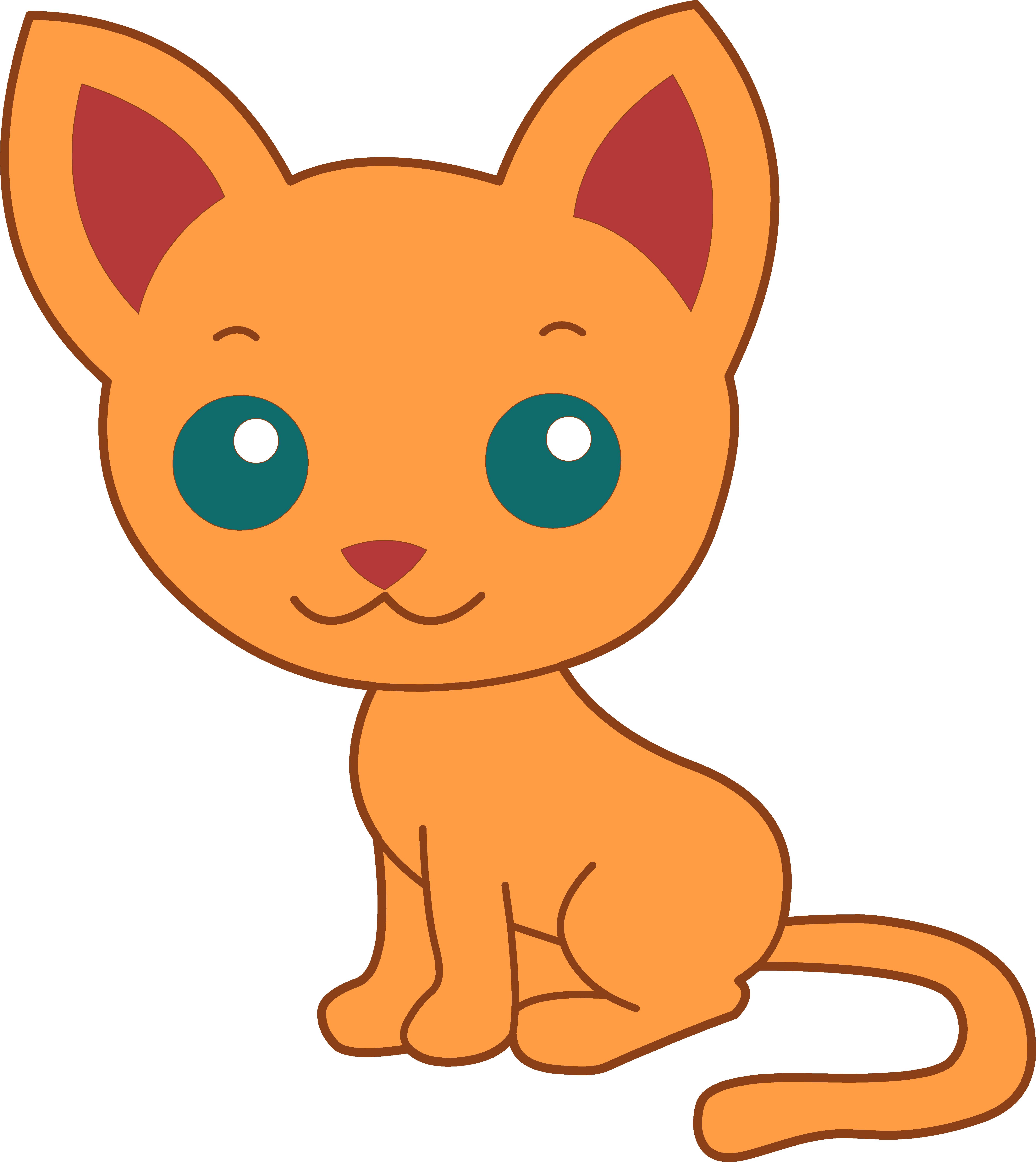 Cute kitty cat free. Kittens clipart orange kitten
