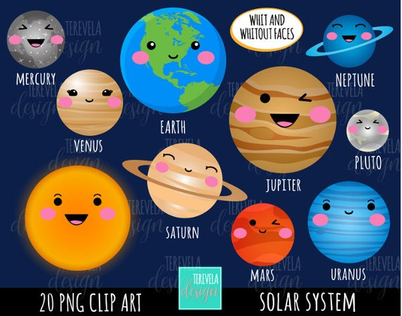 sale solar system. Planets clipart kawaii