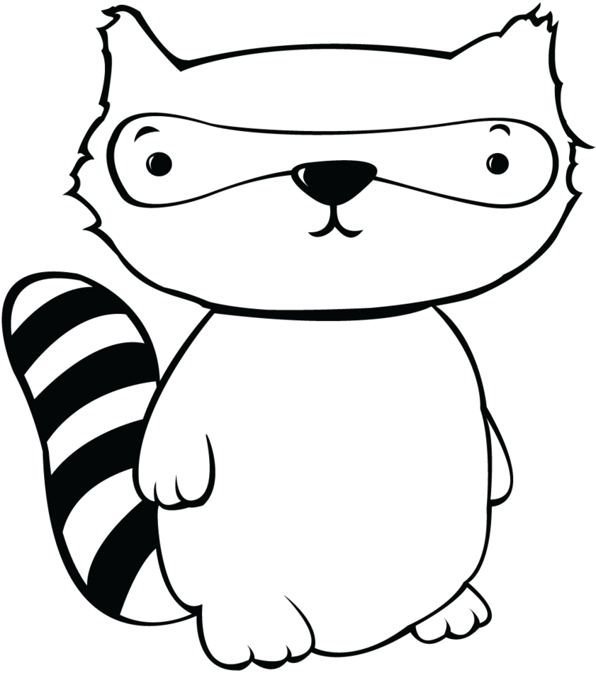 Cute raccoon drawing at. Racoon clipart transparent