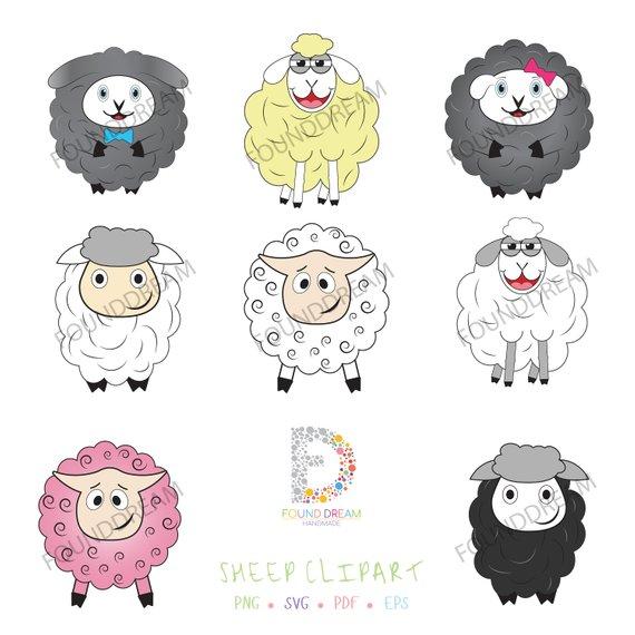 Cute clip art lamb. Sheep clipart family