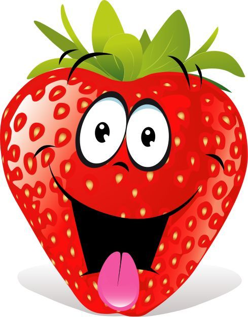 Cartoon sublimation fruit funny. Strawberries clipart cute