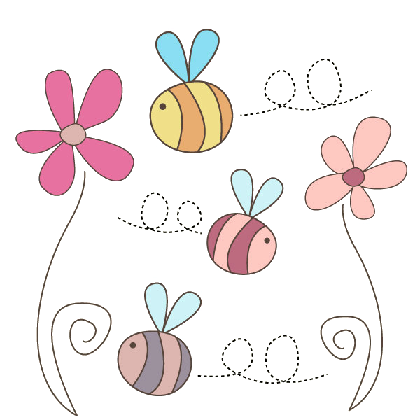 Cute flower png. Flowers and bees by